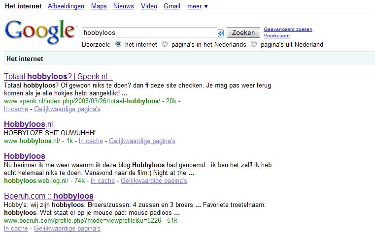 hobbyloos ranking google